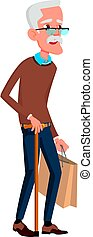 old man walking with stick in mall cartoon vector