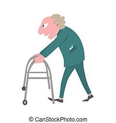 old man walking with walker