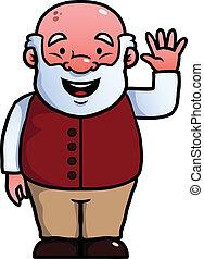 Old man waving at camera - Old man waving happily at the...