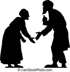 Old man with a beard and old woman arguing, hunched, black silhouette on white background