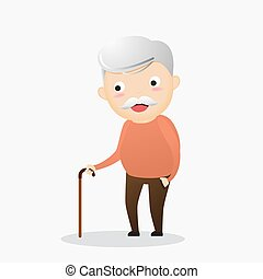 Old man with a cane. An elderly man suffering from back pain. Senior man sick. Vector, illustration.