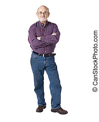old man with arm crossed