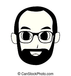 old man with beard, flat design