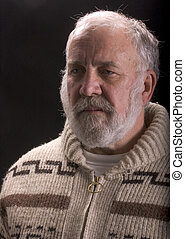 old man with beard in sweater like Ernest Hemingway - older ...