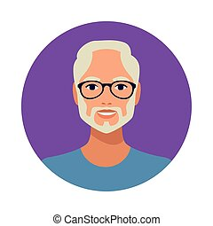 old man with beard wearing glasses avatar character