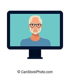 old man with beard wearing glasses in desktop
