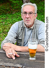 Old man with beer