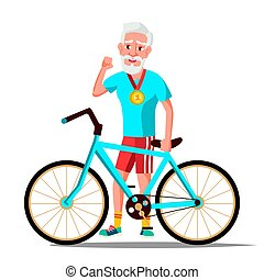 Old Man With Bicycle Vector. City Bike. Outdoor Sport Activity. Eco Friendly. Isolated Illustration