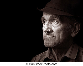 Old man with black hat - Portrait of an old man with hat, ...