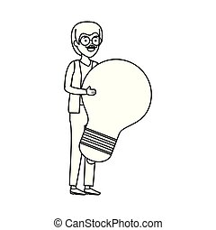 old man with bulb