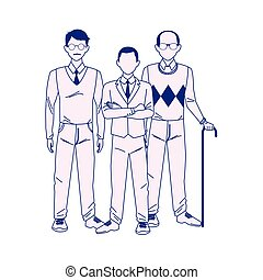 old man with businessmen standing, flat design
