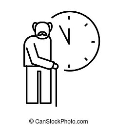 Old man with cane and clocks icon for retirement time