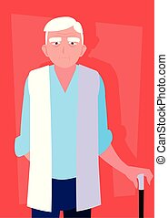 old man with cane avatar character