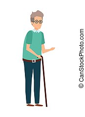 old man with cane character