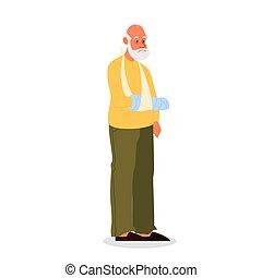 Old man with crutches, having a gypsum bandage. Male senior ...