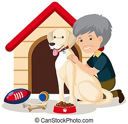 Old man with cute dog and dog house on white background