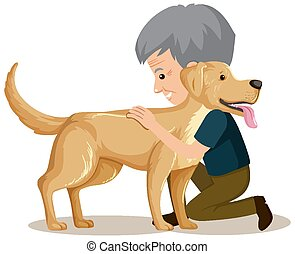 Old man with cute dog on white background
