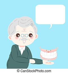 old man with denture