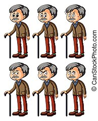 Old man with different facial expressions