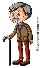 Old man with dizzy eyes illustration