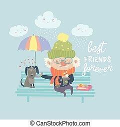 Old man with dog under umbrella
