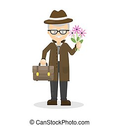 Old man with flowers.