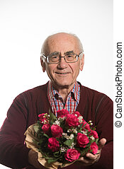 old man with flowers