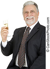 old man with glass of champagne