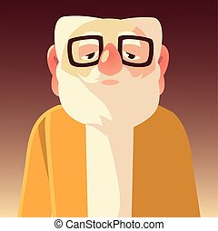 old man with glasses, grandfather cartoon character senior