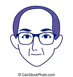old man with glasses icon, flat design