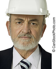 old man with hard hat