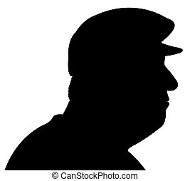 old man with hat silhouette vector
