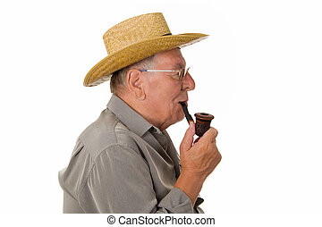 Old man with hat smoking pipe