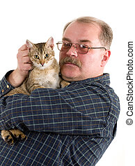 Old man with his cat