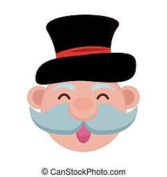 old man with mustache and tophat vector illustration design