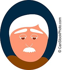 Old man with mustache, illustration, vector on white background.