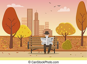 Old Man with Newspaper in Hands on Bench Vector