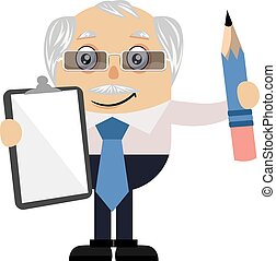 Old man with paper and pen, illustration, vector on white background.