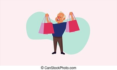 old man with shopping bags animation character ,4k video animated