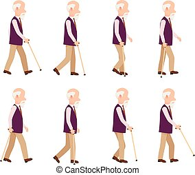 Old Man with Stick. Collection of Character Icons