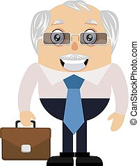 Old man with suitcase, illustration, vector on white background.