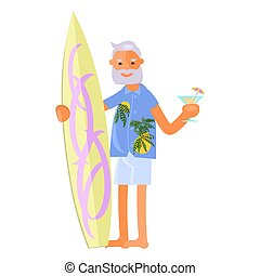 Old man with surfboard