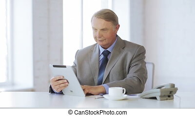 old man with tablet computer - business, office, oldness,...