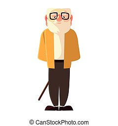 old man with walk cane and glasses, grandfather cartoon character senior