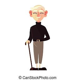 old man with walk stick, grandfather cartoon character senior