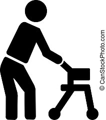 Old man with walking frame icon