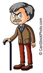 Old man with walking stick illustration