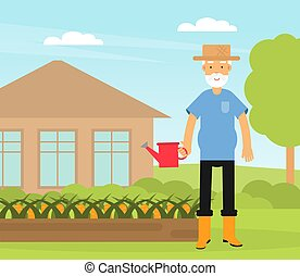 Old Man with Watering Can Doing Gardening Work Vector Illustration