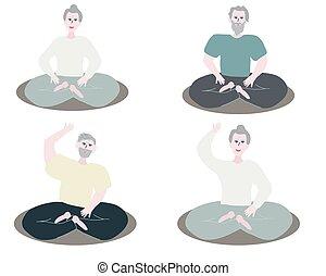 Old Man, woman practicing yoga.