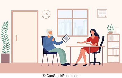 Old man write a testament. Senior drawing will. Retirement estate planning, property transferring, financial advisor and lawyer services concept. Flat vector illustration in cartoon style